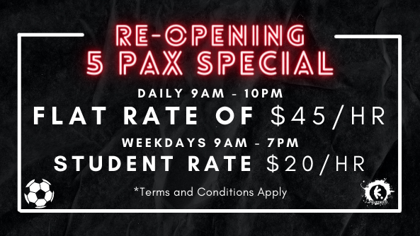 RE-OPENING 5 PAX SPECIAL